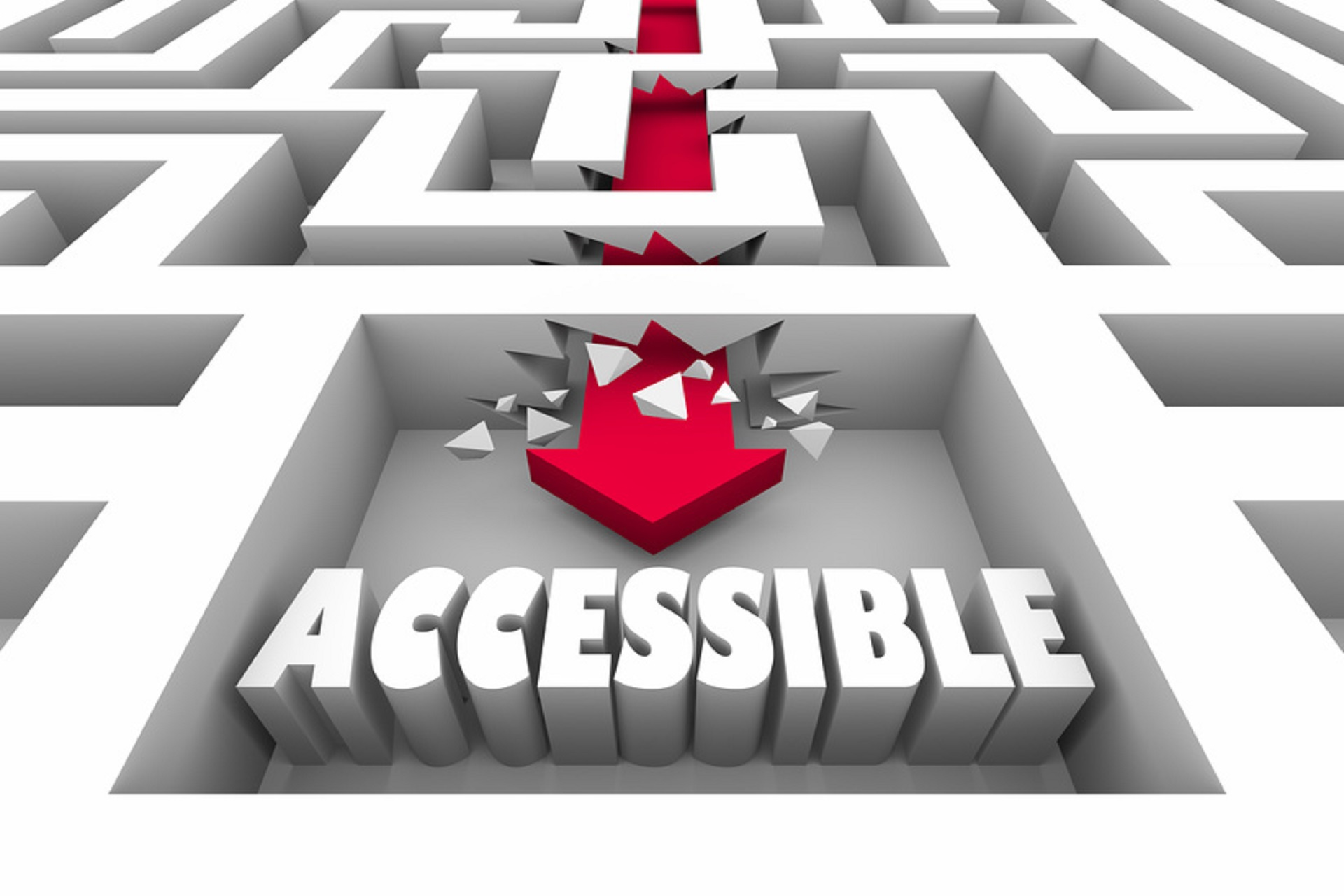 Accessible Maze Break Through Reach Get Access Goal 3d Illustration